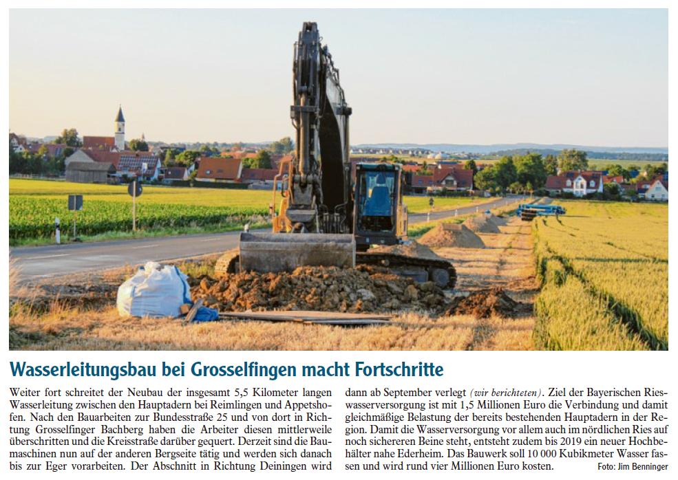 Artikel Wasserleitungsbau bei Grosselfingen macht Fortschritte