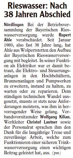 Artikel Rieswasser: Nach 38 Jahren Abschied